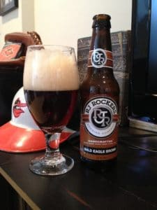 glass and bottle of RJ Rockers Brewing Company beer