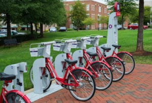 row of public rental bikes