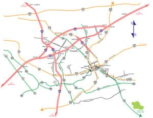 map of main roads near Spartanburg, SC