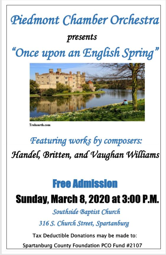 "Piedmont Chamber Orchestra Concert – ""Once Upon an English Spring"""